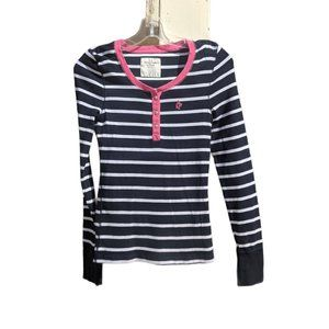 Abercrombie & Fitch Navy/White Striped Henley Top